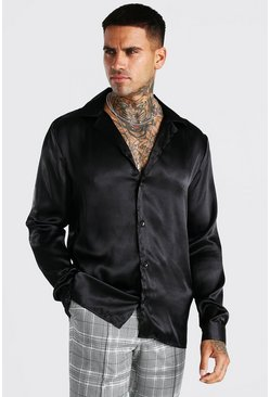 Black Long Sleeve Revere Collar Satin Shirt