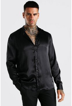 Black Long Sleeve Grandad Collar Satin Shirt