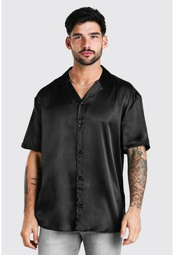Black Short Sleeve Oversized Satin Shirt