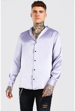 Grey Long Sleeve Shawl Collar Satin Shirt