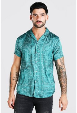 Green Short Sleeve Bandana Print Satin Shirt