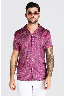 Red Short Sleeve Bandana Print Satin Shirt