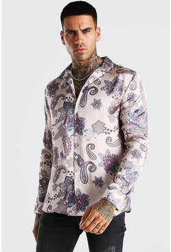 Beige Long Sleeve Paisley Print Satin Shirt