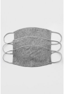Grey 3 Pack Plain Fashion  Masks