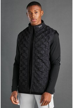 Black MAN Dash Geo Quilted Funnel Neck Gilet