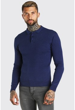 Navy Long Sleeve Ribbed Knitted Polo