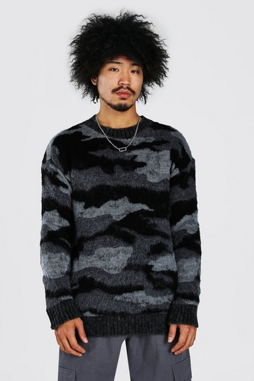 Grey Brushed Knitted Camo Dropped Shoulder Jumper