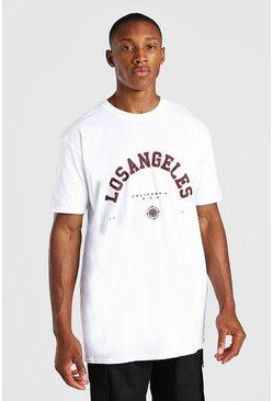 White Oversized Los Angeles Print T-Shirt