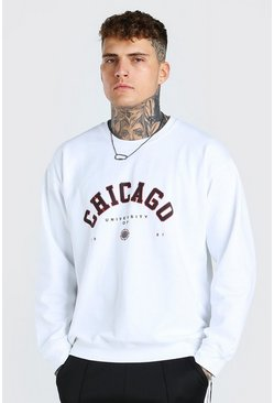 Sweat oversize Chicago, White blanc