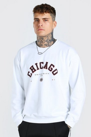 White Oversized Chicago Print Sweatshirt