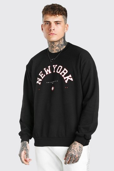 Black Oversized New York Print Sweatshirt
