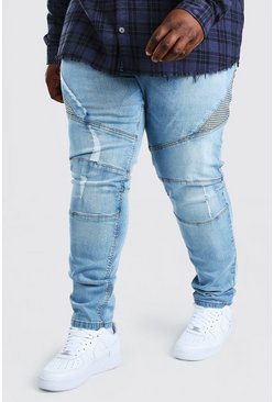 Light blue blue Plus Size Skinny Panelled Biker Jean