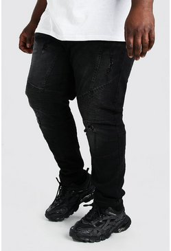 Black Plus Size Skinny Ripped Biker Jean
