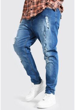 Mid blue Plus Size Skinny Fit Heavy Ripped Jean