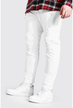White Plus Size Skinny Fit Heavy Ripped Jean