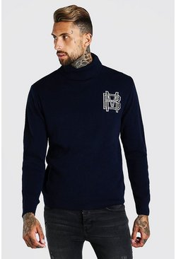 Navy MAN Roll Neck Knitted Jumper