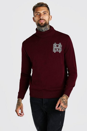 Burgundy red MAN Roll Neck Knitted Jumper