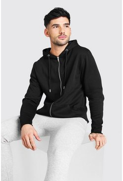 שחור Basic Zip Through Fleece Hoodie