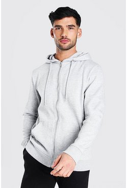 Grey marl Basic Zip Through Fleece Hoodie