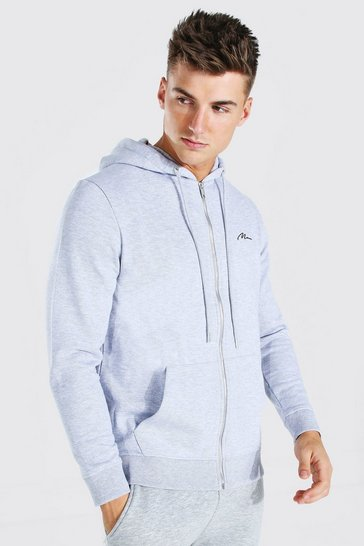 Grey marl grey MAN Signature Zip Through Fleece Hoodie