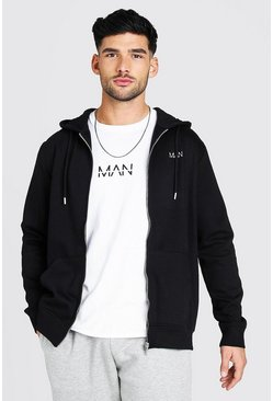 Black Original MAN Zip Through Hoodie