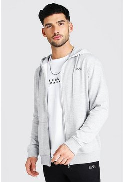 Grey marl grey Original MAN Zip Through Fleece Hoodie