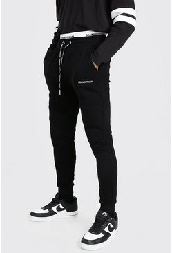 Black Skinny Fit MAN Official Double Waistband Joggers