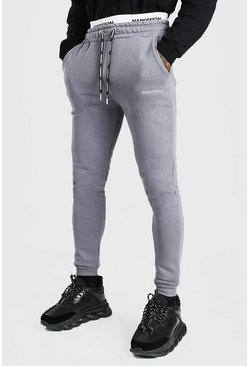 Charcoal grey Skinny Fit MAN Official Double Waistband Joggers