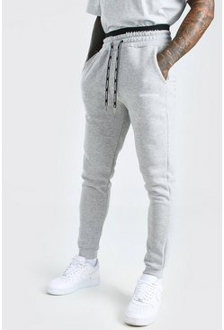 Grey marl grey Skinny Fit MAN Official Double Waistband Jogger