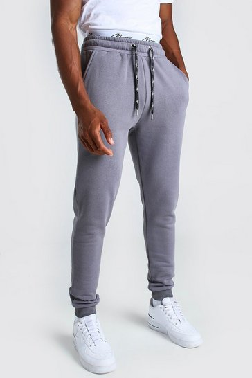 Charcoal grey Skinny Fit MAN Signature Double Waistband Jogger