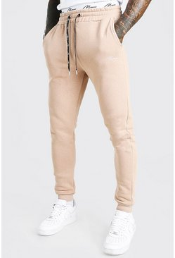 Taupe beige Skinny Fit MAN Signature Double Waistband Joggers