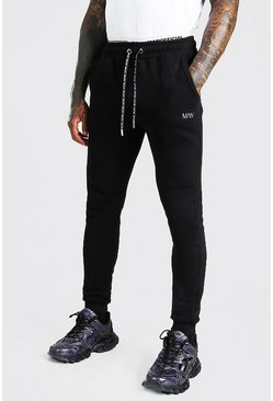 Black Skinny Fit Original MAN Double Waistband Joggers