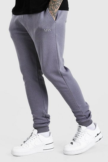 Charcoal grey Skinny Fit Original MAN Double Waistband Joggers