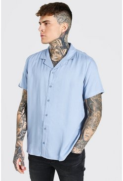 Blue Short Sleeve Viscose Shirt With Revere Collar