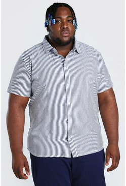 Blue Plus Size Stripe Seersucker Shirt