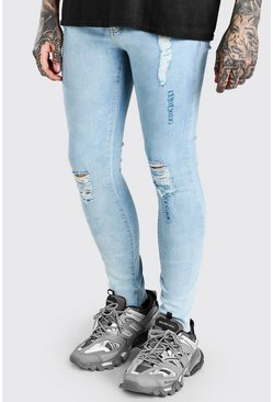 Washed blue blå Raw Hem Skinny Jean