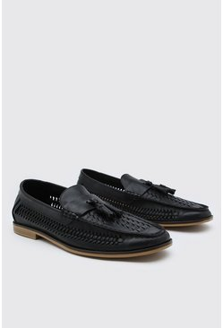 Black Weave PU Loafer