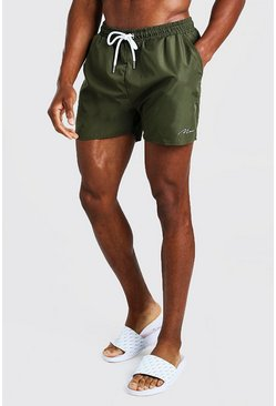 Green MAN Signature Mid Length Swim Short