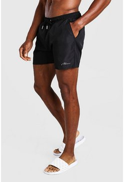 Black MAN Signature Mid Length Swim Short