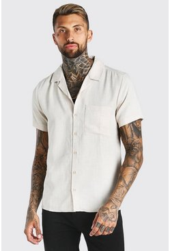 Stone beige Short Sleeve Revere Collar Linen Look Shirt