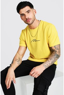 Mustard yellow MAN Embroidered Waffle T-Shirt