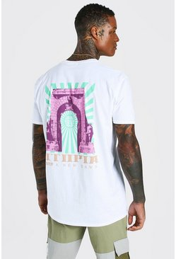 Oversized Utopia Back Print T-Shirt, White blanco