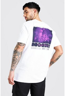 Oversized Photographic Back Print T-Shirt, White blanco