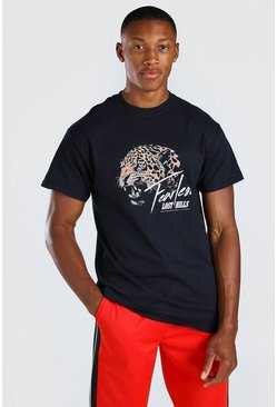 Black Fearless Print T-Shirt