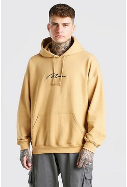 Mustard yellow MAN Signature Oversized Hoodie