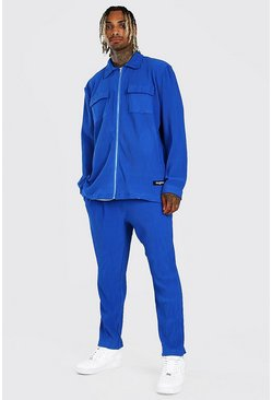 Blue MAN Pleated Shirt And Trouser Set