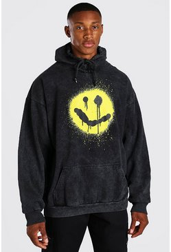 Charcoal grå Oversized Spray Graphic Print Acid Wash Hoodie