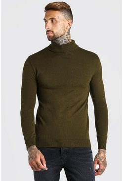 Khaki Regular Fit Roll Neck Jumper