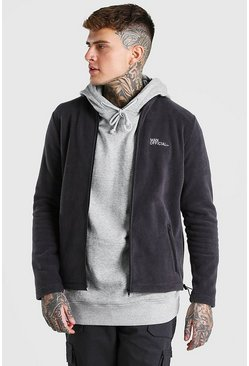 Charcoal grey MAN Official Polar Fleece Zip Through Funnel Top