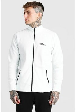 Ecru white MAN Official Polar Fleece Zip Through Funnel Top